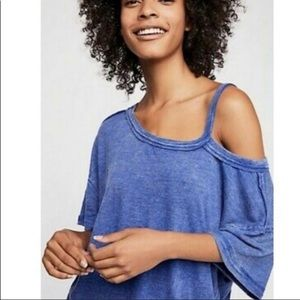 Free People Cold Shoulder Cut Out Top NWT Blue